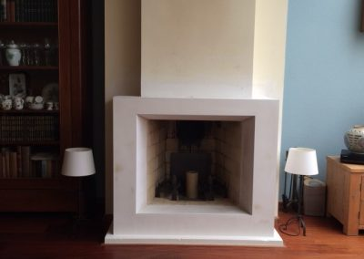 Stuccoed fireplace